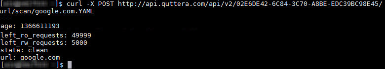 Scan domain request to Quttera's API