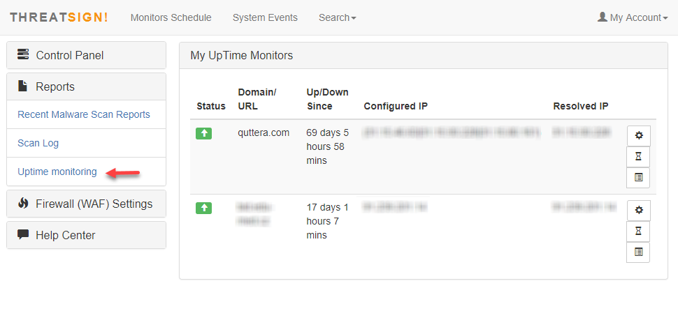 Uptime & DNS/ IP security monitoring